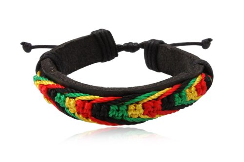 Fashion Multicolor Leather Wrap Cuff Rasta Bracelet Bangle Men's Jewelry