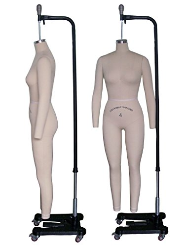 Female Full Body Professional Dress Form Size 4 Collapsible Shoulders W/ Two Removable Arms, Mannequin (Deluxe Series) (Professional Dress Form Full Body compare prices)