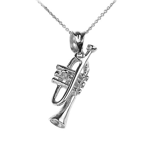 Halskette-925-Sterling-Silber-Trompete-Charme-Musik-Anhnger-Halskette-Kommt-mit-einem-45cm-Kette