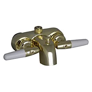 barclay 195 s pb polished brass universal tub converto shower spout with handles and f3 8. Black Bedroom Furniture Sets. Home Design Ideas