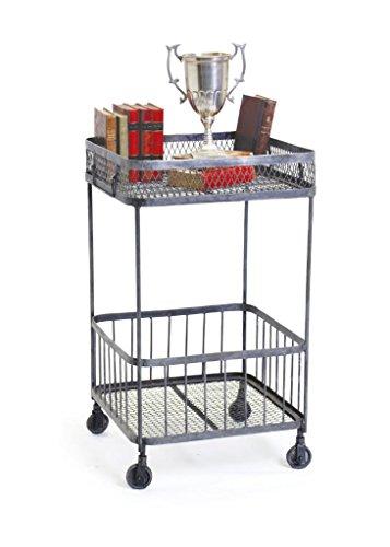 Industrial Side Table, Silver Metal