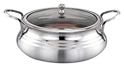 PREMIUM Platina Biryani Pot with Glass Lid, 2.5 Litre - Stainless Steel