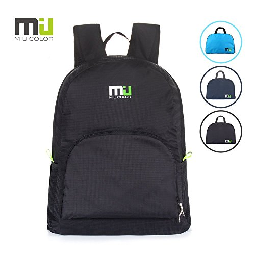 MIU COLOR® 25L Foldable and Durable Lightweight Backpack - Packable Waterproof Daypack for Traveling, Hiking, Cycling, Camping Outdoor Events - Black Miu Miu Bags Light