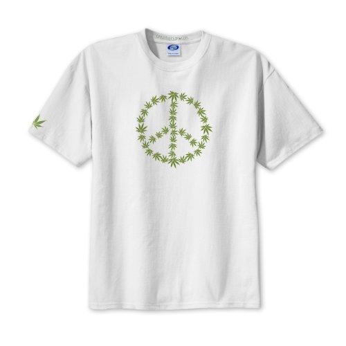 PEACE SIGN SYMBOL Marijuana Pot Leaf White T-Shirt MEDIUM