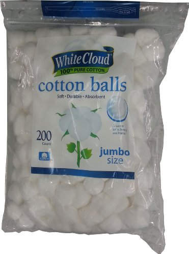 White Cloud Jumbo Size Cotton Balls, 200 count (00681131048491)