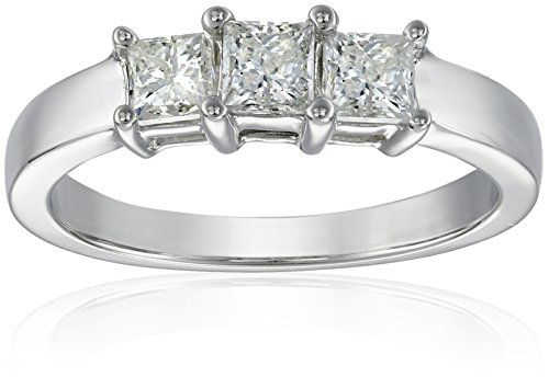 14k White Gold Princess-Cut 3-Stone Diamond Ring (1 cttw, I-J Color, I1-I2 Clarity), Size 8