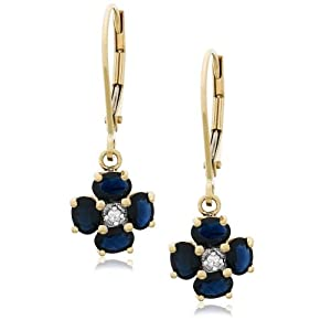 Click to buy 14K Yellow Gold Diamond and Sapphire Dangle Earrings from Amazon!