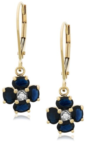 14k Yellow Gold Diamond and Sapphire Floral Dangle Leverback Earrings