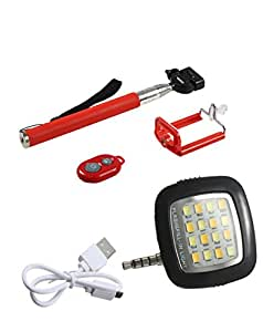 Novo Style Bluetooth Wireless Remote Shutter Selfie Stick - Red with 16 LED Selfie Night Flash Light Accessory Combo