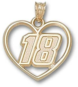Kyle Busch Driver Number 18 Heart Pendant - 14KT Gold Jewelry by Logo Art