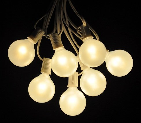 100 Foot Globe Patio String Lights - Set of 100 G50 White Pearl Bulbs with White Cord
