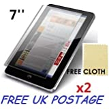 "2x Universal Android Windows Tablet PC Screen Protector Cover Shield + Free Cloths 2 Pack (7"" inch)"