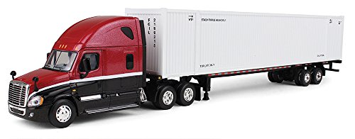 First Gear 1/64 scale Diecast Collectible Red & Black/White Freightliner Cascadia Day-Cab with 53' Smooth Side Intermodal Container and Chassis (#60-0305) (Freightliner Diecast compare prices)