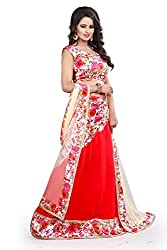 London Beauty Women's Red Georgette Floral Lehenga Choli