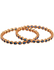 Ganapathy Gems 1Gram Gold Plated Bangle Set With Blue Stones (9182)