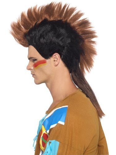 Smiffy's Men's Indian Male Mohican Wig, Black/Brown, One Size