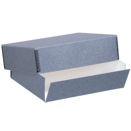 "Lineco Archival 14"" X 18"" Print Storage Box, Drop Front Design, 14"" X 18"" X 3"", Exterior Color: Blue / Gray."