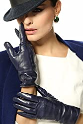 Elma Women's Touch Screen Italian Nappa Leather Winter Texting Gloves (7, Dark Navy)