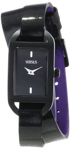 Versus by Versace Women's SGQ010013 Ibiza Rectangular Black Aluminum Case Leather Strap Patent Top Watch