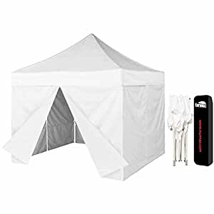 Eurmax 10 X 10 Canopy Tent Pop up Outdoor Canopy Instant Gazebo with 4 Zippered Sidewalls and Dust Cover, White
