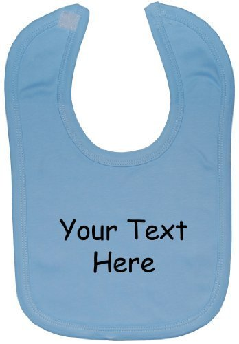 Bespoke Personalised Designe Your Own Wording Baby Feeding Bib Velcro Attached 0 to approx 3 Years - Blue by NA