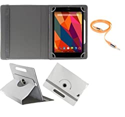 Gadget Decor (TM) PU LEATHER Rotating 360° Flip Case Cover With Stand For HCL Me Champ Tablet + Free Aux Cable -White