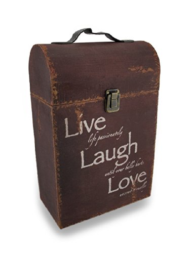 Wood Distressed Finish Vintage Look `Live/Laugh/Love` Double Wine Box