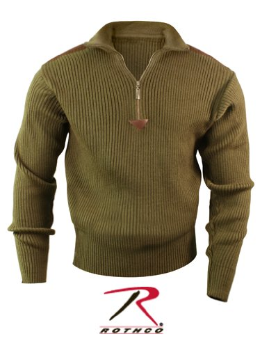 3370 OLIVE DRAB 1/4 ZIP ACRYLIC COMMANDO SWEATER