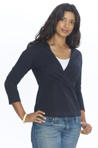 Emma-Jane 3/4 Length Sleeve Nursing Top - Black/White - Size: 14/16(L)