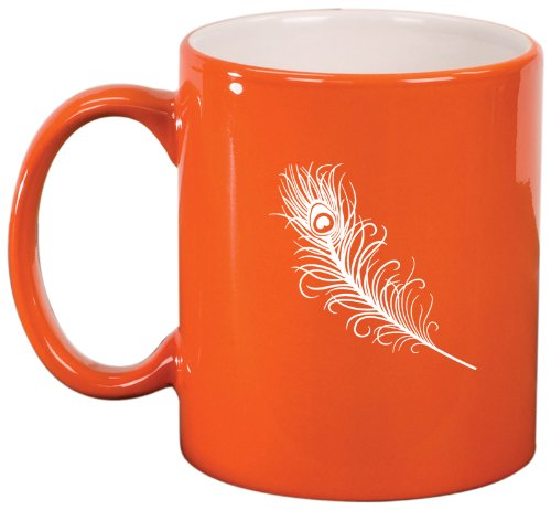 Orange Ceramic Coffee Tea Mug Peacock Feather
