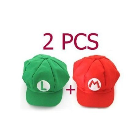 Best Price 2PCS Super Mario Bros Hat Mario Luigi Cap Cosplay Red Green