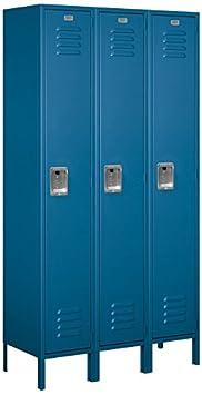 Salsbury Industries 51365BL-U Single Tier 3-Inch Wide 6-Feet High 15-Inch Deep Unassembled Extra Wide Standard Metal Locker, Blue