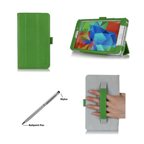 Procase Samsung Galaxy Tab 4 7.0 Case With Bonus Stylus Pen - Smart Cover Case With Stand For 7 Inch Tab 4 Tablet 2014 (Sm-T230 / T231 / T235), With Hand Strap (Green)