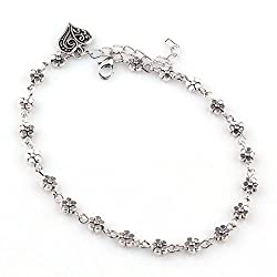 Charms Beautiful Silver Heart Shaped Floral Beauty Alloy Anklet For Women & Girls