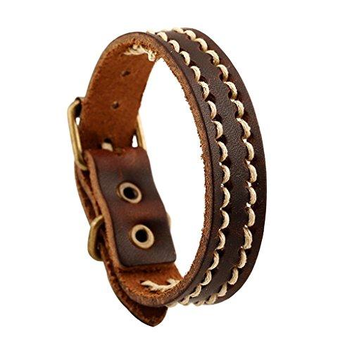 Bishilin Vintage Knitting Brown Leather Cuff Wrap Bangle Bracelets
