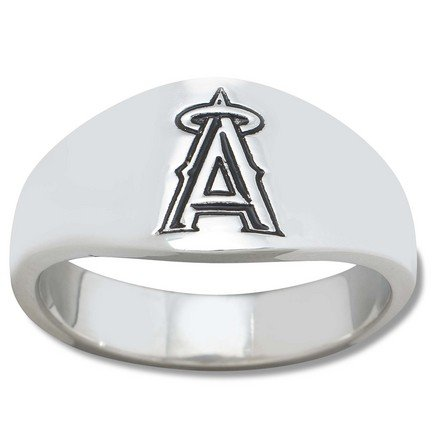 Los Angeles Angels MLB Sterling Silver Logo Gents Enamel Band Ring Size 11