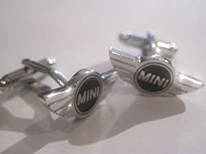 New Silver And black Mini Cuff Links Great For Enthusiast in a gift box