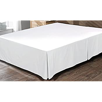 Bed Skirt Hotel Quality, Iron Easy, Quadruple Pleated , Wrinkle and Fade Resistant - by Utopia Bedding (Queen, White)