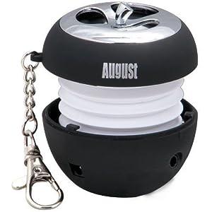 August MS310B Mini Enceinte MP3 Portable avec Haut-parleur Stéréo Intégré et DEL Clignotantes - Couleur : Noir