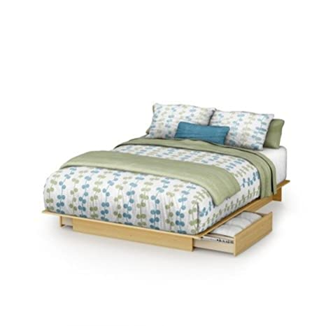 South Shore Copley Full/Queen Wood Platform Storage Bed 3 Piece Bedroom Set in Maple