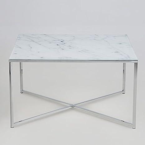 lounge-zone Couchtisch Wohnzimmertisch MARMORI Tischplatte Glas mit Marmor Aufdruck Gestell Chrom 13498
