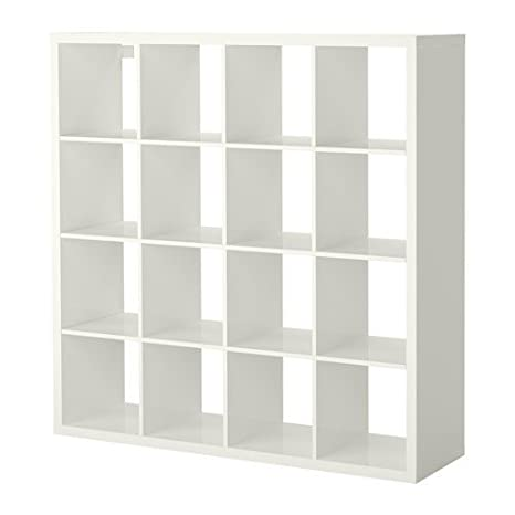 IKEA KALLAX estantería de pared blanco brillante; (147 x 147 cm); Compatible con EXPEDIT