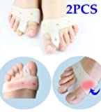 Cerkos Gel Toe Separators Straightener Bunion Protector Corrector with Metatarsal Pad Feet Care for Immediate Pain Relief (2 pcs)