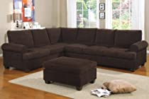 Hot Sale Livorno Sectional couch Set Chocolate Corduroy Finish with free ottoman (Sofa & wedge)