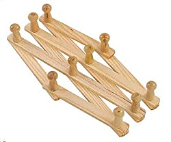 Wooden Expandable Hanger: NEW Wooden hanger Expandable Wooden Coat Rack Hat Closet Hook Fold Expanding with 10 Pegs