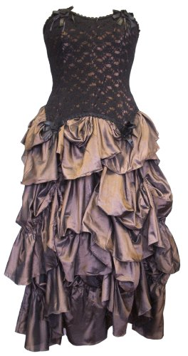 Dark Star Poly-Silk/Lace Corset & Ruched-Skirt Dress with accent Roses DS/DR/7148 (Bronze, size 12 14 16*)
