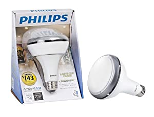 Philips 420273 Ambient LED 13-Watt BR30 Indoor Flood Light Bulb, Dimmable
