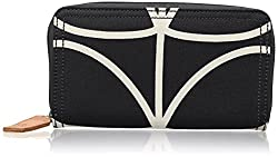 Orla Kiely Core Linear Big Zip Wallet, Black/Cream, One Size