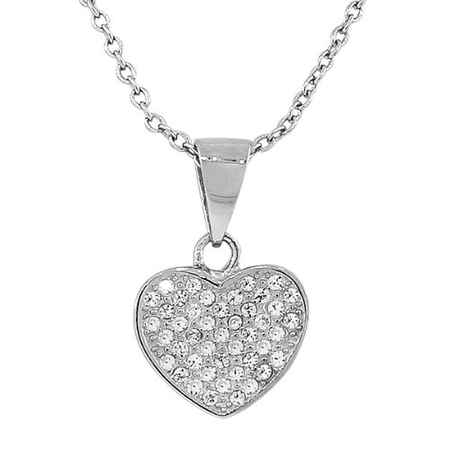 Sterling Silver Yellow Rose Gold Plated Love Heart White Crystals Cz Pendant Necklace With Chain (Rhodium Plated, 0.7 Inches)