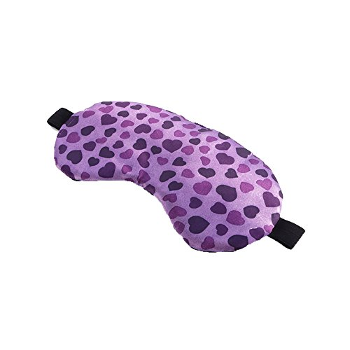 Mssilk Purple With Purple Hearts Print Breathable Silk Sleep Eye Mask With Brocade Pouch And Earplugs Gift Set
